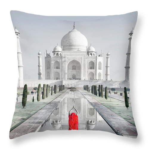 Tranquility Throw Pillow featuring the photograph Woman In Red Sari Praying At Taj Mahal by Grant Faint
