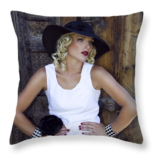 Female Throw Pillow featuring the photograph Woman In White Palm Springs by William Dey