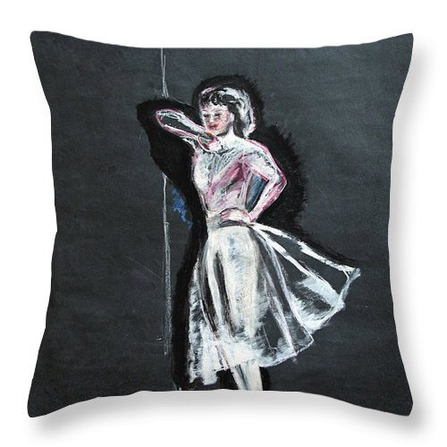 Woman Throw Pillow featuring the painting Woman in White by Tom Conway