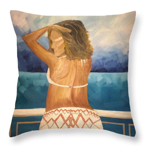 Woman Throw Pillow featuring the painting Woman On A Yacht by Diana Dzene
