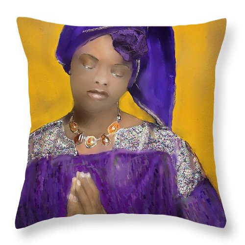 Mixed Medium Throw Pillow featuring the painting Woman Praying by Vannetta Ferguson