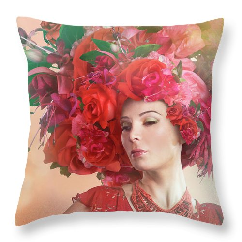 Art Throw Pillow featuring the photograph Woman Wearing A Big Red Hat Made Of by Paper Boat Creative
