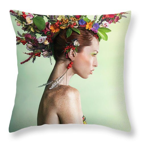 Art Throw Pillow featuring the photograph Woman Wearing A Colorful Floral Mohawk by Paper Boat Creative
