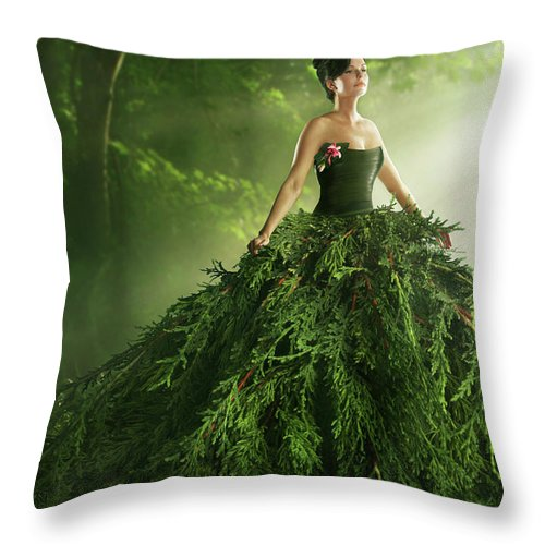 Environmental Conservation Throw Pillow featuring the photograph Woman Wearing A Large Green Gown In The by Paper Boat Creative