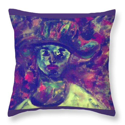 Green Throw Pillow featuring the painting Woman With A Hat by Shea Holliman