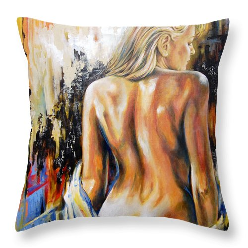 Nude Throw Pillow featuring the painting Woman's Portrait by Karina Llergo