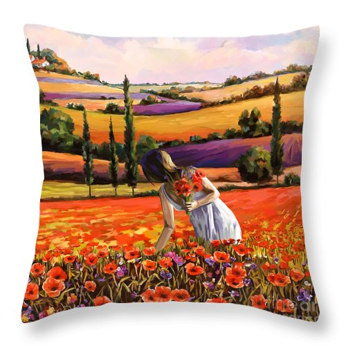 Women Throw Pillow featuring the painting Women Gathering Poppies In Tuscan by Tim Gilliland