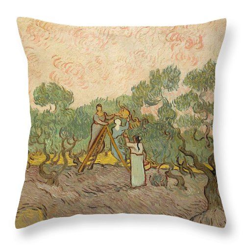 1889 Throw Pillow featuring the painting Women Picking Olives by Vincent van Gogh