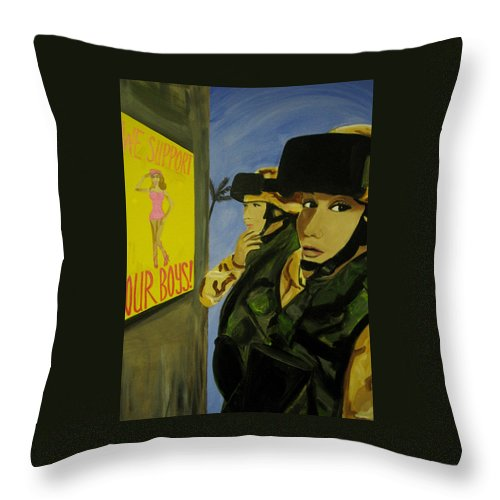 Women Warriors Throw Pillow featuring the painting Women Warriors And The Pinup by Michelle Dallocchio