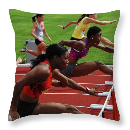 Canadian Track And Field National Championships Throw Pillow featuring the photograph Womens Hurdles 3 by Bob Christopher