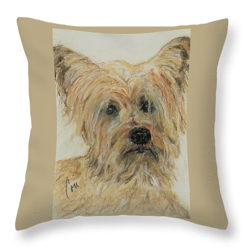 Terrier Throw Pillow featuring the drawing Wonder-ful by Cori Solomon