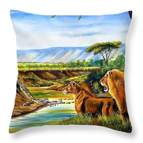 African Paintings Throw Pillow featuring the painting Wonder Of The Great Migration by Chagwi