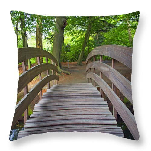 Wood Throw Pillow featuring the photograph Wood Bridge by Alain Michiels