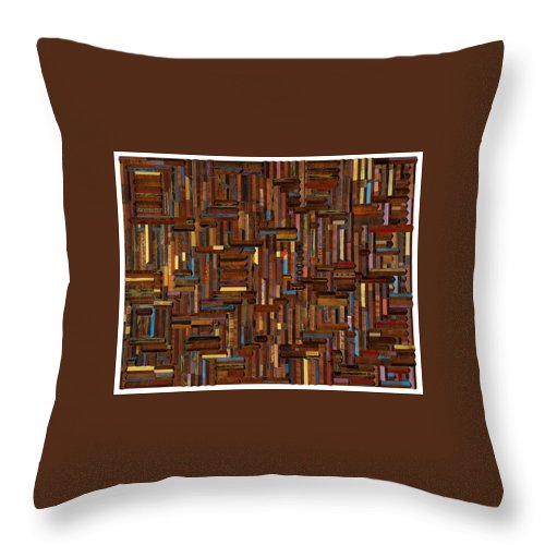 Wood Throw Pillow featuring the mixed media Wood Cuts by Jack Thompson