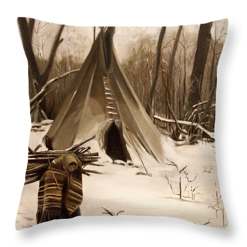 Native American Throw Pillow featuring the painting Wood Gatherer by Nancy Griswold