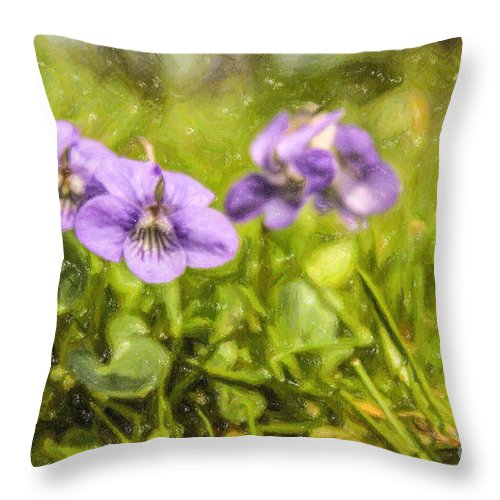 Wood Violet Throw Pillow featuring the digital art Wood Violet by Liz Leyden