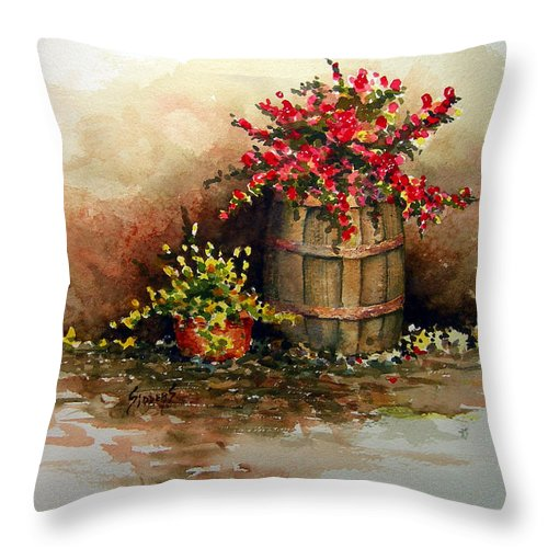 Barrel Throw Pillow featuring the painting Wooden Barrel with Flowers by Sam Sidders