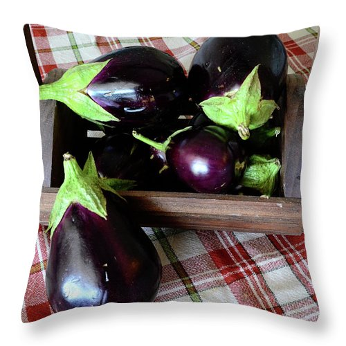 Purple Throw Pillow featuring the photograph Wooden Basket Of Eggplant by Jessica Lynn Culver
