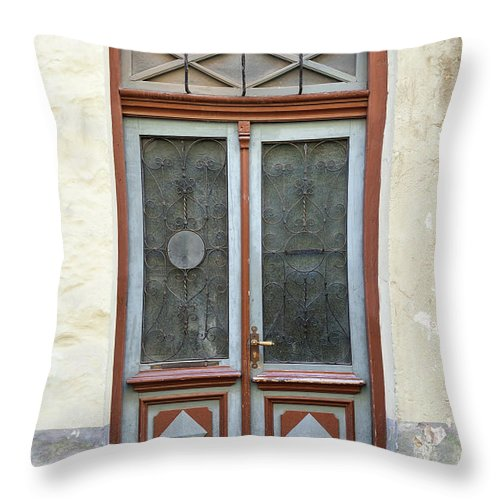 Rectangle Throw Pillow featuring the photograph Wooden Door With Glass And Decoration by Eugenesergeev