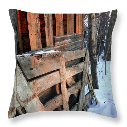 Fence Throw Pillow featuring the photograph Wooden Fence by Laurie Pelletier