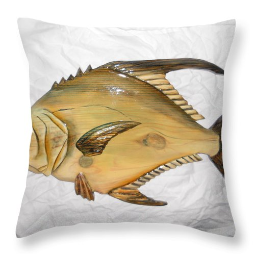 Dryriver Throw Pillow featuring the mixed media Wooden Permit Number Four by Lisa Ruggiero