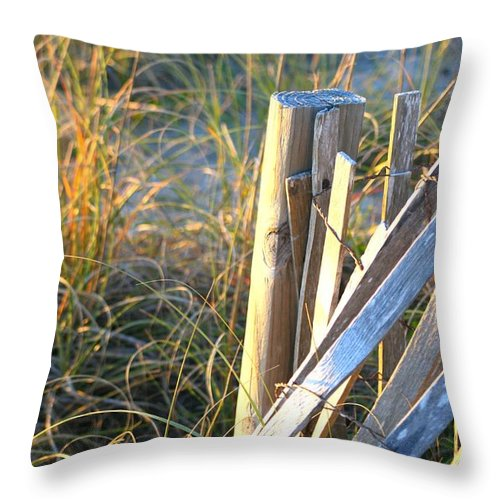 Post Throw Pillow featuring the photograph Wooden Post And Fence At The Beach by Nadine Rippelmeyer