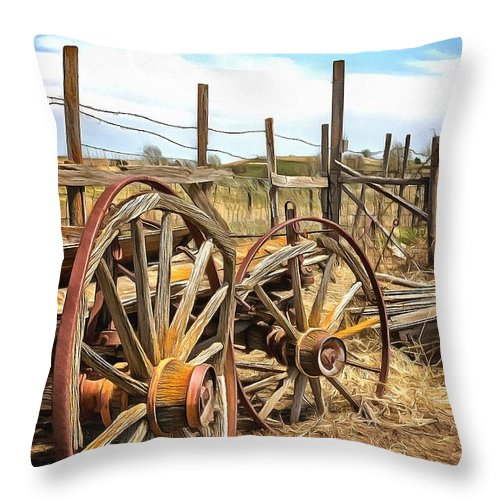 Ranch Throw Pillow featuring the photograph Wooden Ranch Wagon by Ray Van Gundy