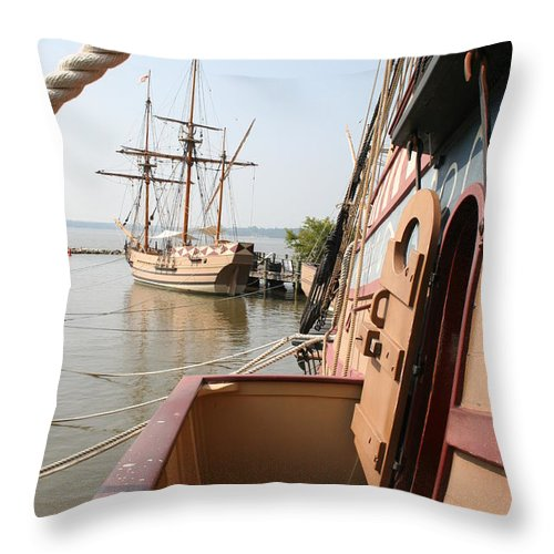 Ship Throw Pillow featuring the photograph Wooden Sailingships by Christiane Schulze Art And Photography