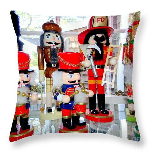 Christmas Throw Pillow featuring the photograph Wooden Soldiers by Ed Weidman