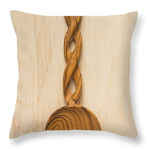Spoon Throw Pillow featuring the photograph Wooden Spoon 1 A by John Brueske