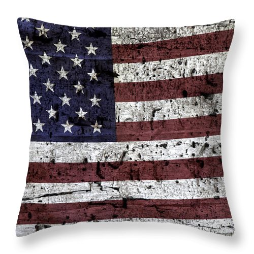 Usa Throw Pillow featuring the photograph Wooden Textured U. S. A. Flag by John Stephens