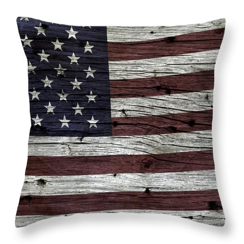 Usa Throw Pillow featuring the photograph Wooden Textured Usa Flag3 by John Stephens