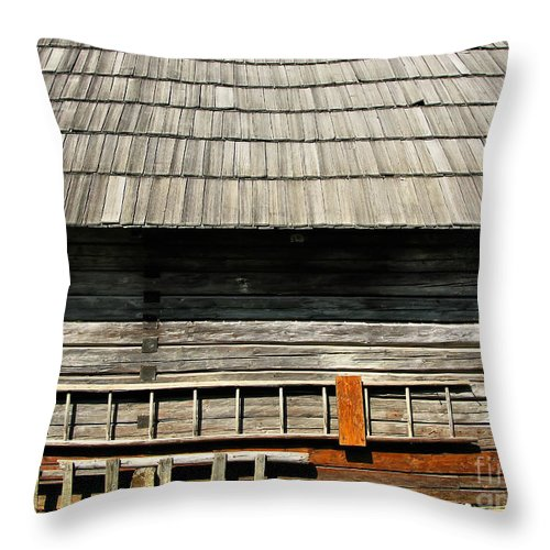 Window Throw Pillow featuring the photograph Wooden Window And Roof by Daliana Pacuraru