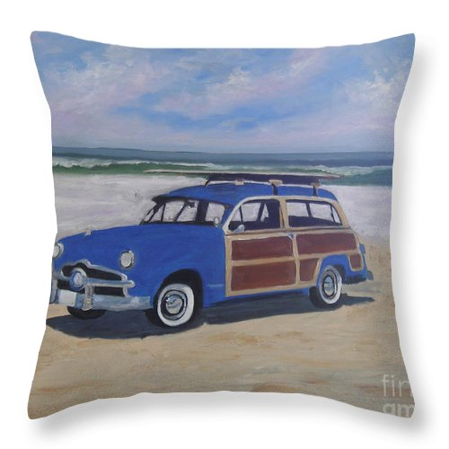 Transportation Throw Pillow featuring the painting Woodie On Beach by Mark Perry