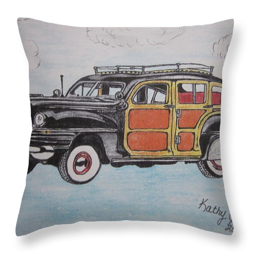 Woodie Throw Pillow featuring the painting Woodie Station Wagon by Kathy Marrs Chandler