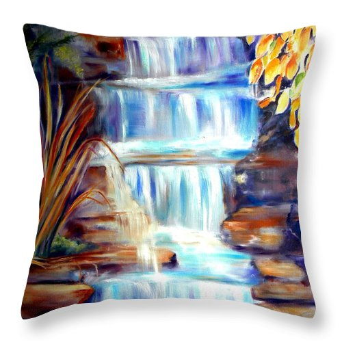 Waterfall Throw Pillow featuring the painting Woodland Oasis by Sandy Ryan