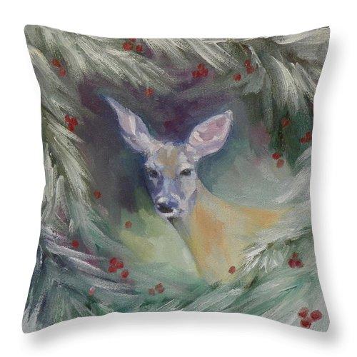 Liz Viztes Throw Pillow featuring the painting Woodland Spirit by Liz Viztes