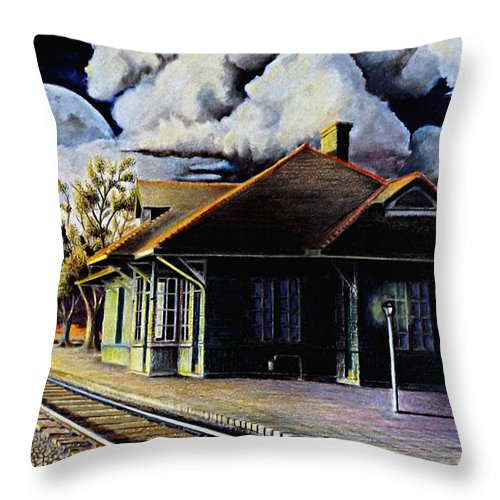 Train Station Drawing Throw Pillow featuring the drawing Woodstock Station by David Neace