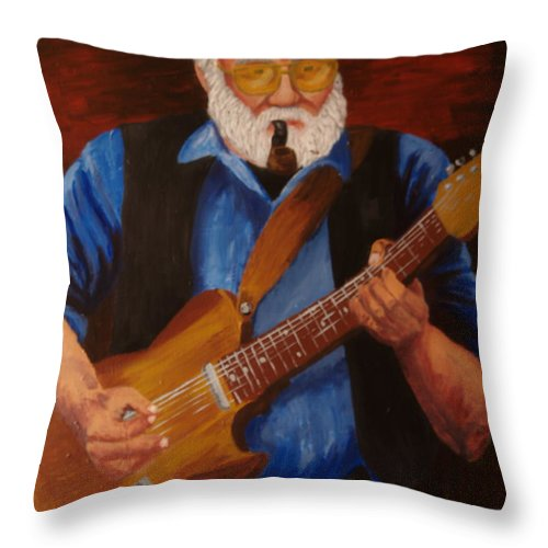 Portrait Throw Pillow featuring the painting Woody by David Rodden
