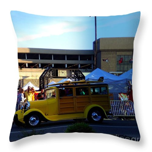 Cruisin Throw Pillow featuring the photograph Woody Rider by Bobbee Rickard