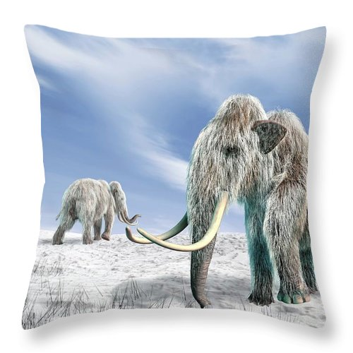 Horned Throw Pillow featuring the digital art Woolly Mammoths, Artwork by Science Photo Library - Leonello Calvetti