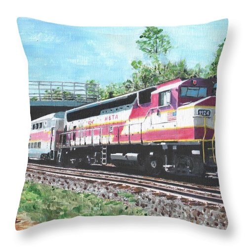 Mbta Throw Pillow featuring the painting Worcester Bound T Train by Cliff Wilson