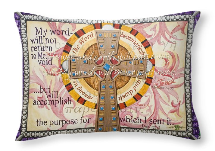 Cross Throw Pillow featuring the painting Word Of God by Gail Denney Shelton
