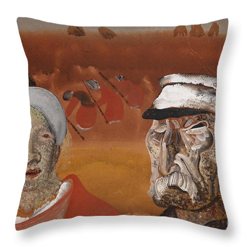 Russia Throw Pillow featuring the painting Workers In The Fields by Celestial Images