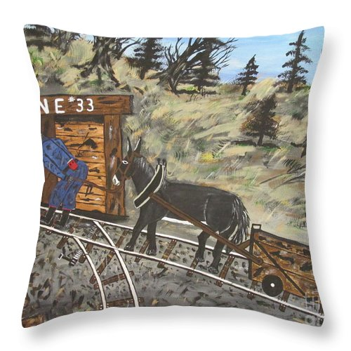 Coal Man Art Throw Pillow featuring the painting The Coal Mine by Jeffrey Koss