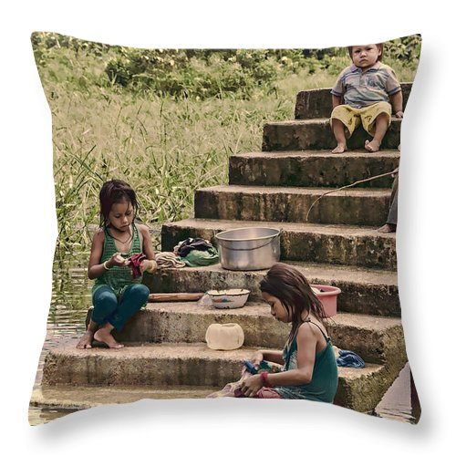 Amazon Throw Pillow featuring the photograph Working Girls by Maria Coulson