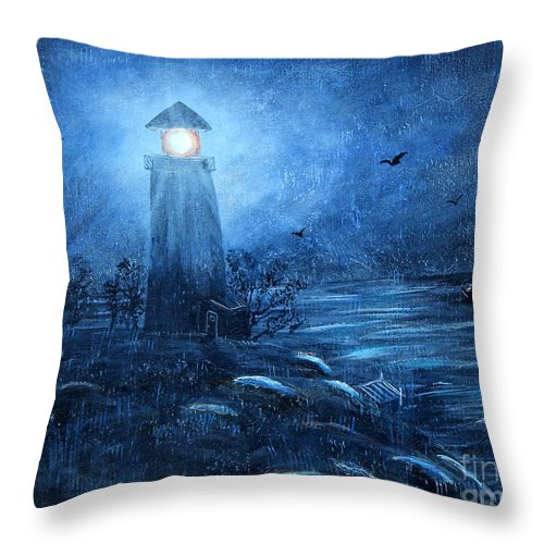 Barbara Griffin Throw Pillow featuring the painting Working Night Shift In The Rain by Barbara Griffin