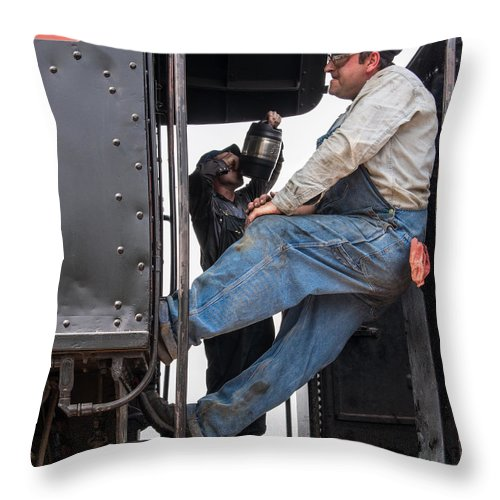 Railroad Throw Pillow featuring the photograph Working On The Railroad by David Kay
