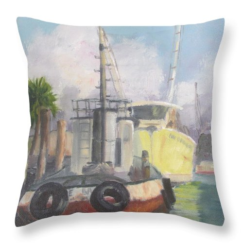 Tug Boat Throw Pillow featuring the painting Working Waterfront by Susan Richardson