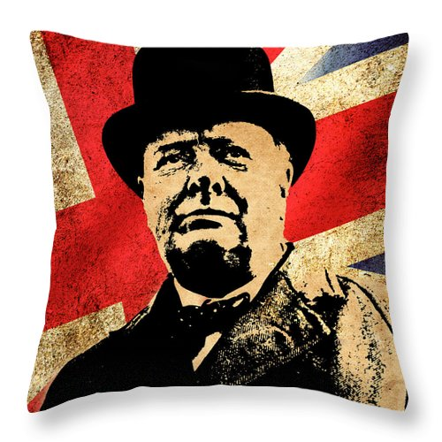 Churchill Throw Pillow featuring the photograph World Leaders 3 by Andrew Fare